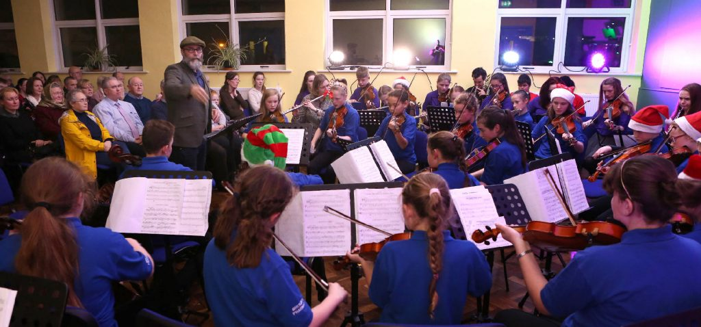 LSM Tutor, John Davidson conducts the Laois School of Music Orpheus Orchestra at the Laois School of Music Christmas Concert in Portlaoise. Photo: Michael Scully- no reproduction fee.